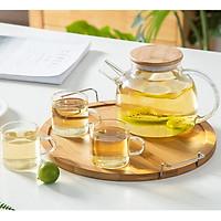 Bộ bình trà thủy tinh kèm khay gỗ tre