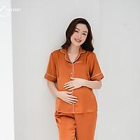 Bộ bầu mặc nhà BD02 chất liệu lụa mềm mại, có khoét ngực tiện lợi cho bé tuti sữa by LAMME