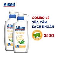 Aiken Combo 2 Sữa Tắm Sạch Khuẩn Chiết Xuất Bạc Hà 350g/chai