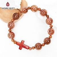 Vòng chuỗi Mân Côi Rosary Bracelet đá thạch anh tóc đỏ - Ngọc Quý Gemstones