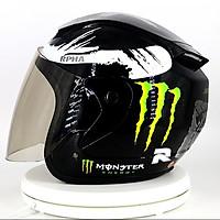 Mũ bảo hiểm 3/4 SRT tem Monster kính khói chống lóa