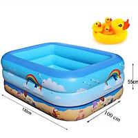 Phao bơi, bể bơi 3 tầng hình chữ nhật 1,3m - 1m5 - 1m8 (màu ngẫu nhiên, tặng kèm bơm hơi, keo dán và 2 miếng vá)