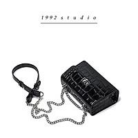 Túi xách nữ 1992 s t u d i o / PHEDRA BAG / màu đen da bóng mini size dây xích phối da