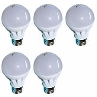 Đèn LED búp nhựa phủ matt cao cấp bộ 5 cái Gnesco 5W (sáng trắng)