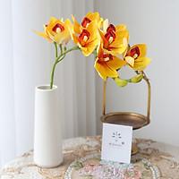 Hoa Giả - A1 Camelia, Hoa Chi Lan Kiếm + Tặng Kèm Sỏi Trắng, Hoa Lụa Decor Cao Cấp, Cành 95cm, 1Cành Gồm 10 Bông Lớn, Trang Trí