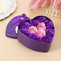 Hoa hồng trái tim hộp thiếc đựng 11 bông thích hợp tặng quà cho người yêu, bạn giá nhân các ngày lễ - Giao màu ngẫu nhiên