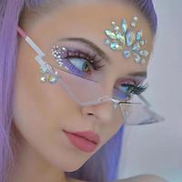 Women Fashion Punk Slim Cat Eye Sunglasses Rimless Sun Glasses Eyewear Black