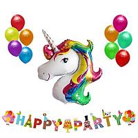 Combo bong bóng Unicorn và dây treo Happy Party
