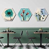 Bộ 3 tranh decor hình lục giác treo tường, thiết kế hiện đại, độc đáo, phù hợp với nhiều không gian - LG010
