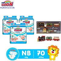 Combo 3 bịch Tã Dán Goo.n Premium Cao Cấp Gói Cực Đại Newborn NB70 (70 Miếng) + Tặng Bộ đồ chơi mô hình đường tàu dùng pin