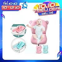 Lưới tắm cho bé phao nằm tắm cho trẻ sơ sinh xốp lưới vải chống trơn trượt đặt vào chậu tắm đỡ lưng đầu an toàn