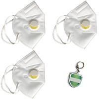 3 cái Khẩu trang N95 Pro Mask, có van thở, kháng khuẩn, chống bụi siêu mịn PM2.5, màu trắng - Tặng móc treo khóa mica