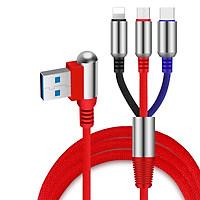 Cáp Sạc Nhanh 3 Cổng Micro USB Type C Và Lightning