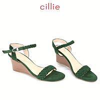 Giày sandal nữ quai bính đế xuồng cao 8cm Cillie 1214