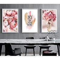 Set 3 tranh canvas hoa mẫu đơn hồng phấn lãng mạn HO0019