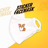 Corgi dog - Sticker Face Mask
