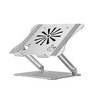 Adjustable Aluminum Alloy Laptop Stand with Cooling Fan Foldable Non-slip Laptop Holder Compatible with 10-17.3 inch