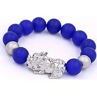 Vòng tay Tỳ hưu inox trắng - Chuỗi đá thạch anh xanh dương mờ 14 ly VTAXDMTHHBT14 - Chuỗi tay phong thủy