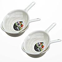 2 bộ rổ kèm chậu hứng 1.2 lít có tay cầm (Màu trắng) - Hàng nội địa Nhật