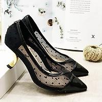 Giày cao gót nữ phối lưới chấm bi gót vàng kiểu thời trang - LN222