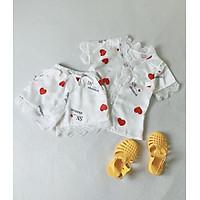Set Bộ Quần Áo Bé Gái Lụa Satin Tay Ngắn Siêu Xinh Pijama Bộ Mặc Nhà [BN22] Babi mama