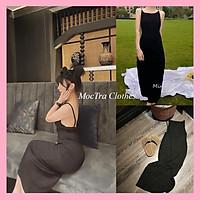 Đầm maxi yếm hai dây hở lưng dáng dài vintage tiểu thư hàng hottrend siêu xinh, Váy nữ đi biển khoét lưng chất zip đẹp  giá rẻ,phù hợp đi dạo đi chơi