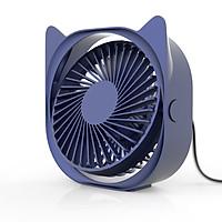 Quạt để bàn tai thỏ có đèn led, nhỏ gọn kích thước 12.6x12.6x5.1cm - màu sắc giao ngẫu nhiên