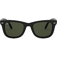 Ray-Ban RB4105 Wayfarer Folding Sunglasses, Black/Green, 54 mm