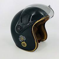 Mũ bảo hiểm 3 4 kính càng SRT A368K viền đồng - thông gió - kính chống tia UV cao cấp