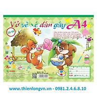 Vở vẽ ghim xé dán gáy A4 - 20 tờ; Klong 709 bìa xanh lá