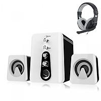 Combo Bộ 3 Loa Máy Tính 2.1 Âm Thanh 3D HC-807 + Tai nghe chụp tai kèm mic đàm thoại CT-770 (Màu Ngẫu Nhiên)