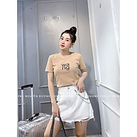 áo thun nữ croptop thêu chữ W.A.N.G chất cotton