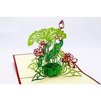 Thiệp 3D Cây và hoa - Thanh Toàn - Hoa sen cỡ nhỏ - NV49