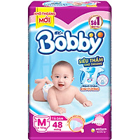 Tã Dán Bobby Siêu Mỏng Thấm Gói Lớn M48 (48...