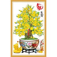 Decal trang trí Tết chậu hoa mai Lộc Phát