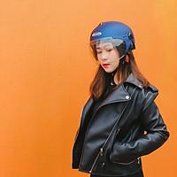 Mũ bảo hiểm 1/2 Sunda 137A - Màu xanh dương nhám