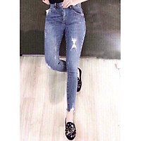Quần jean dài nữ rách cá tính - B60