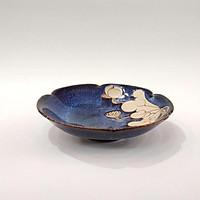 đĩa salat cắt hoa gốm sứ Bát Tràng cao cấp men hoả biến xanh khắc sen chìm