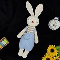 Gấu bông cao cấp hàng thủ công móc và khâu tay 100% - Thú nhồi bông handmade từ len chất lượng cao, an toàn tuyệt đối cho bé - Thỏ nhồi bông Amigurumi Lala quần yếm xanh áo sọc- SP000105
