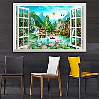 Bức tranh dán tường cửa sổ 3D in trên giấy ảnh với 2 lựa chọn bề mặt cán PVC gương hoặc cán bóng, mã số: 00400552L11