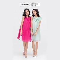 Đầm suông nữ GUMAC DB816 sát nách đính nơ  nhiều màu tiểu thư