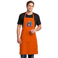 Tạp Dề Làm Bếp In họa tiết Bạch tuộc và chú khỉ đội mũ cam