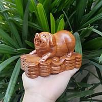 Linh vật tượng con lợn gỗ hương Tượng con lợn phong thủy Tượng con lợn phát tài 12 con giáp