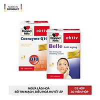 Bộ đôi chống lão hóa, bổ tim, điều hoà huyết áp Doppelherz Belle Anti Aging + Coenzyme Q10 (02 hộp 30 viên)