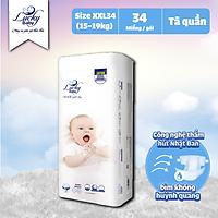 Tã Bỉm Quần Lucky Baby Không Huỳnh Quang, Siêu Thấm Hút XXL34 (15-19kg)