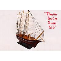 Mô hình thuyền buồm gỗ Phong Thủy trắng 25cm