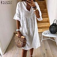 ZANZEA S-5XL Women Bell Sleeve Casual Mini Dress Summer Beach Holiday Shirt Dress Plus
