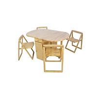 Bộ bàn ăn 4 ghế xếp gọn gỗ cao su màu tự nhiên Hi Furniture