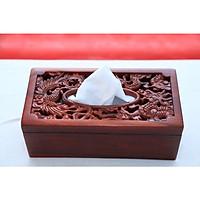 Hộp đựng giấy ăn long phượng gỗ hương cao cấp