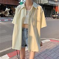 Áo Sơ Mi Tinh Khiết Thô Cotton Màu Trơn Hồng Kông
